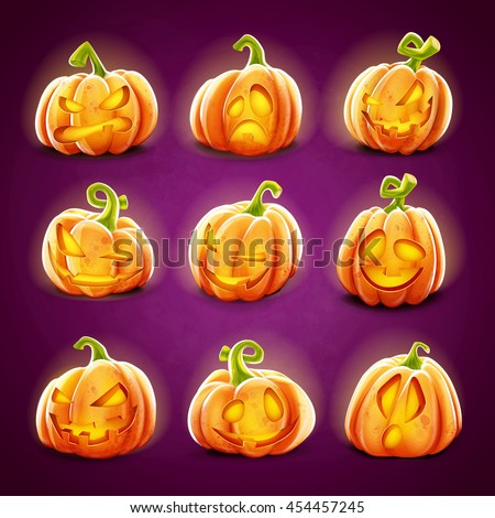 pumpkin set for halloween - stock vector