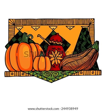 Pumpkin soup sketch poster vector illustration. Background Kitchen. - stock vector