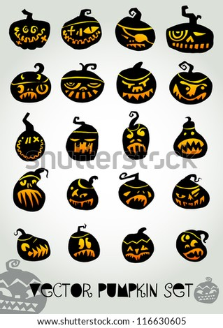 pumpkin vector set - stock vector