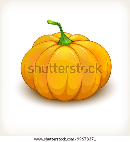 Pumpkin vegetable in a glossy style on white background - stock vector