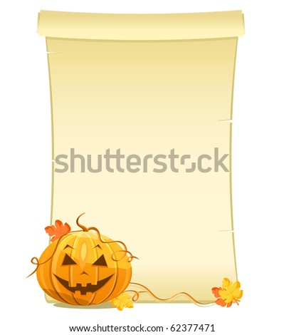 pumpkin with blank sheet of paper - stock vector