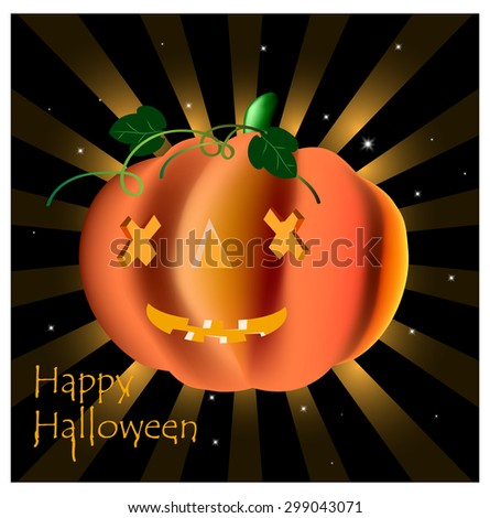 Pumpkin with glowing eyes for Halloween - stock vector