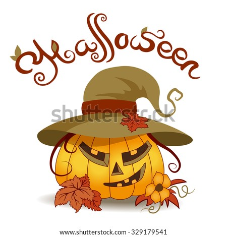 Pumpkin with slices. Celebration/holidays Halloween. Wearing hat with fall maple leaves. Various autumn leaves on bottom of the picture, flower immature pumpkins mustache curls. Lettering   - stock vector