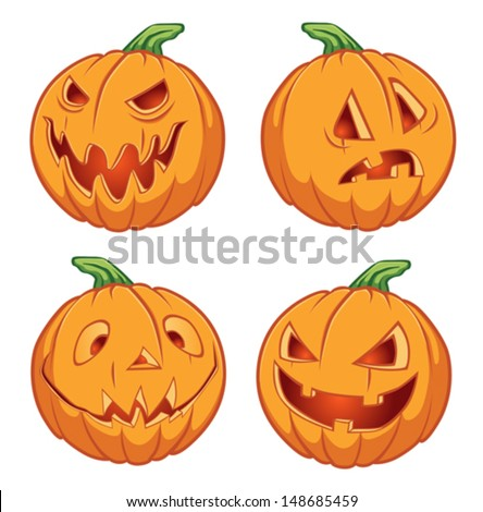 Pumpkins for Halloween on a white background - stock vector