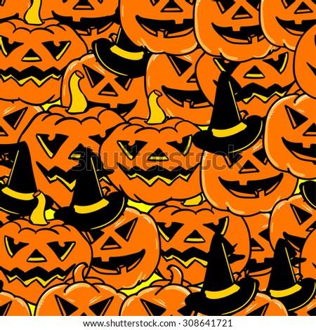 pumpkins for Halloween seamless - stock vector