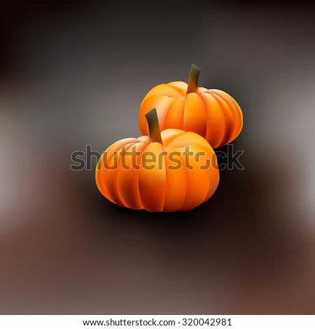 Pumpkins isolated on gradient background. Vector for Halloween - stock vector