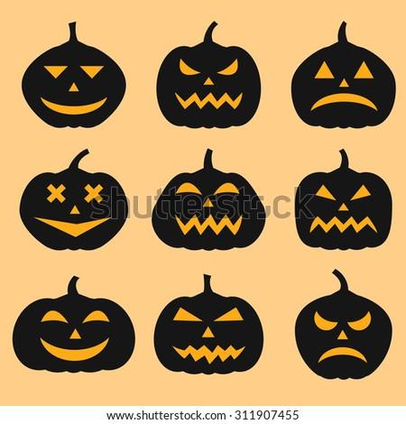 Pumpkins set for Halloween - stock vector