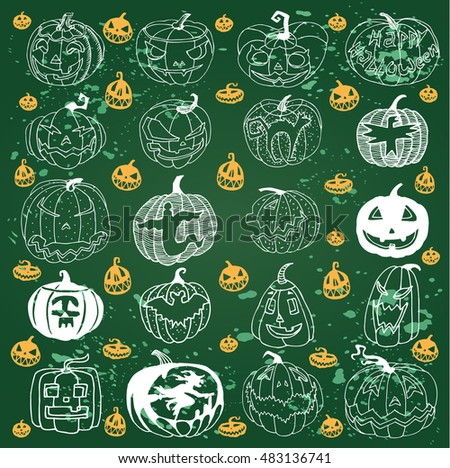 Pumpkins Set for Halloween on the Green Chalkboard Background.