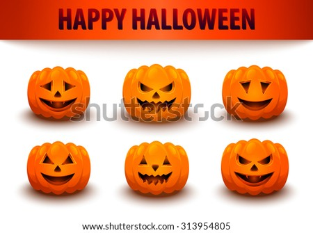 Pumpkins set. Halloween pumpkin. Jack o lantern. EPS10 vector. - stock vector