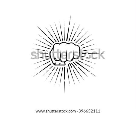 Punch fist with sunburst vector illustration - stock vector