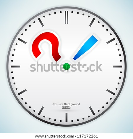 Punctuation marks on clock - stock vector