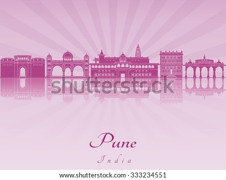 Pune skyline in purple radiant orchid in editable vector file - stock vector