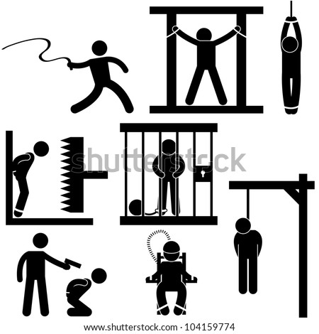 Punishment Torture Justice Death Sentence Execution Icon Symbol Sign Pictogram