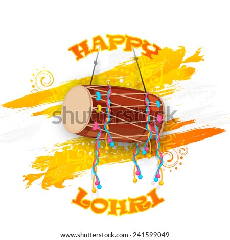 Punjabi festival, Happy Lohri celebration with drum on floral decorated background. - stock vector