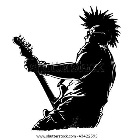 punk guitar player in grunge style - stock vector