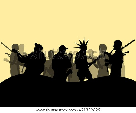 Punk rock band culture vector background illustration - stock vector
