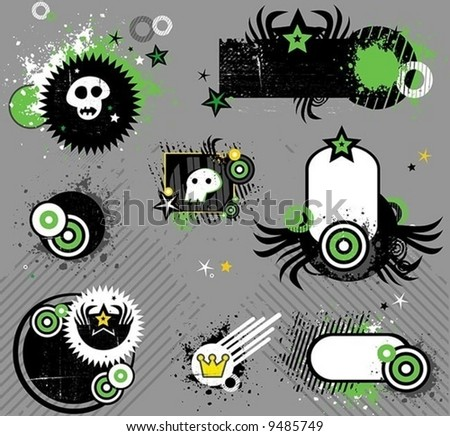 Punk set of design elements.