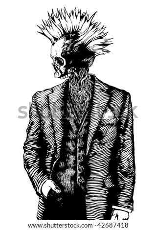 punk skull in the men's suit. vector illustration grunge style. - stock vector