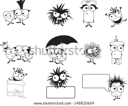 punk style cute monster,happy, family, love, sad, surprised, upset, together - stock vector