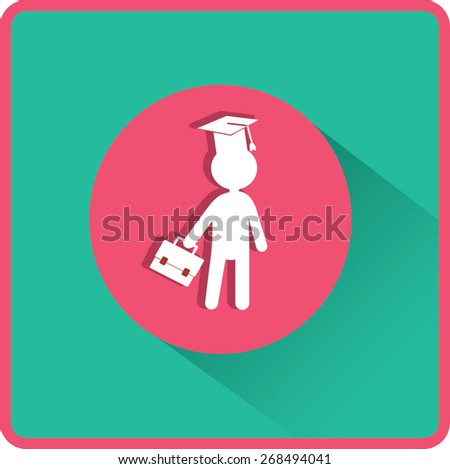 Pupil in Mortarboard. Flat Vector Icon - stock vector