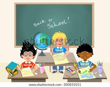 pupils of elementary school  - stock vector