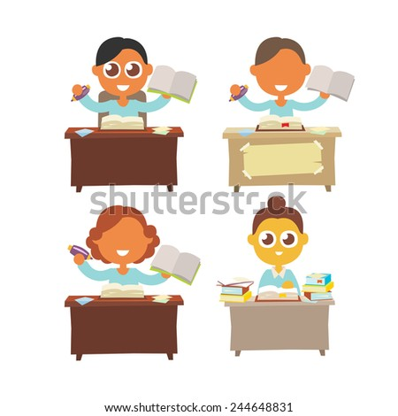 pupils sitting at the table with pen and school notebook in hand, cartoon flat style vector illustration art set. - stock vector