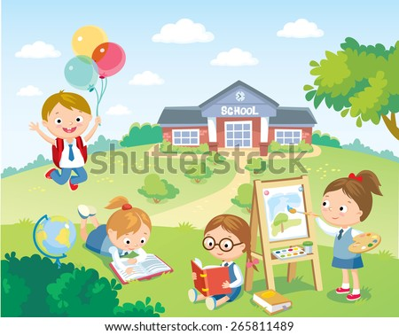 pupils studying in the school yard - stock vector