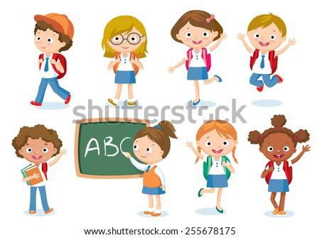 pupils with school backpacks - stock vector