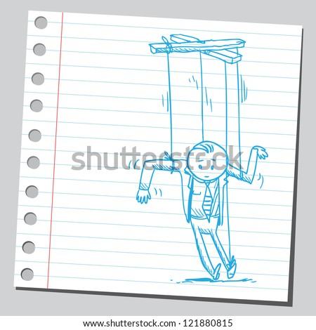 Puppet businessman - stock vector