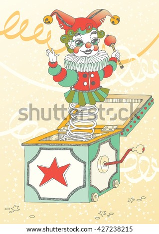 Puppet clown, jumping out of the box - stock vector