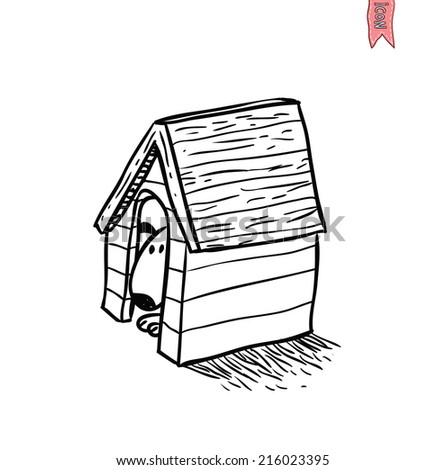 puppy and new dog house . Vector illustration. - stock vector