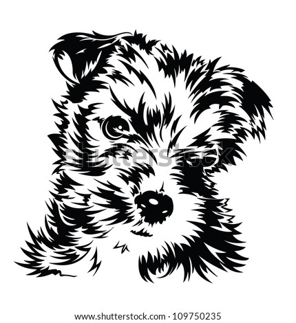 Puppy (Black and white illustration of a dog) - stock vector