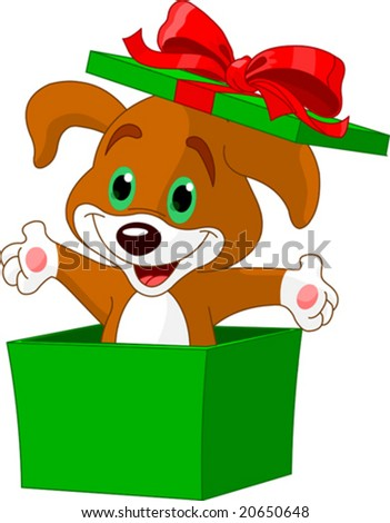 Puppy jumping out from a gift box - stock vector