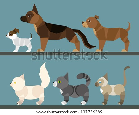 Puppy set - flat design Simple illustration in the flat style, colors easy to change  - stock vector