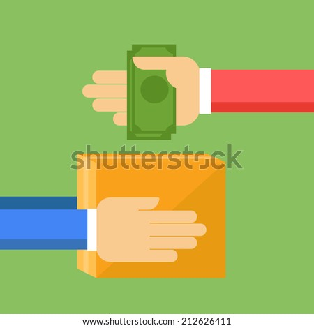 Purchase concept - hands with money and box - stock vector