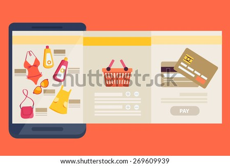 Purchasing clothes online concept with three adjacent web screens showing the merchandise, a shopping cart and payment by bank card, vector illustration - stock vector