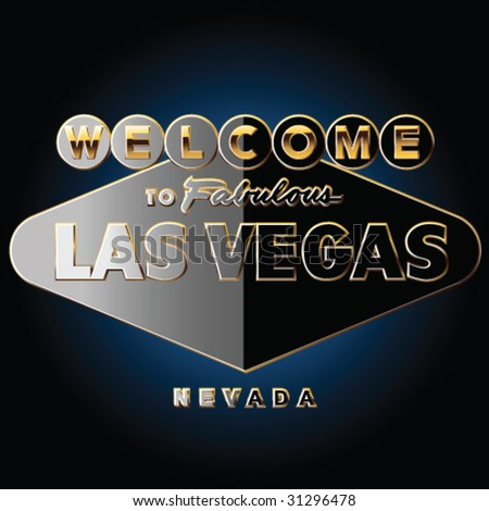 Pure black and gold richest Las vegas road sign - stock vector