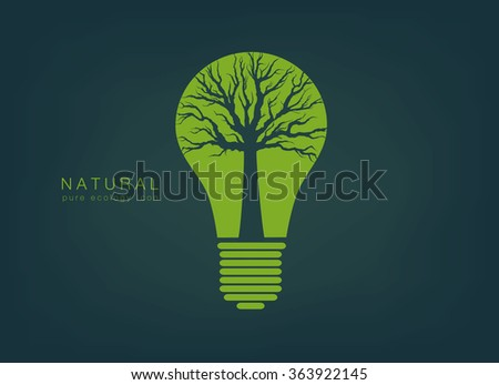 pure ecology icon with a green light bulb and tree