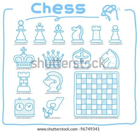 Pure series | Hand drawn Chess icon set - stock vector