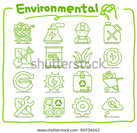 Pure series | Hand drawn Environment,ECO icon set - stock vector