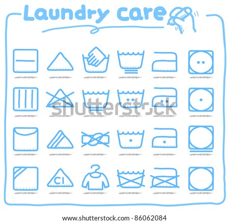 Pure series | hand drawn Laundry Care ,washing symbols - stock vector