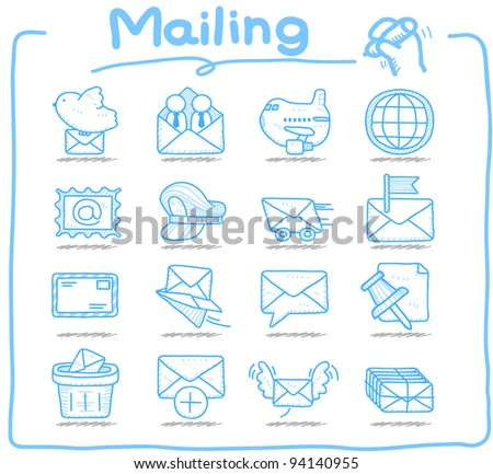 Pure series | Hand drawn mailing ,communication icon set - stock vector