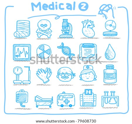 Pure series | hand drawn medical icons - stock vector