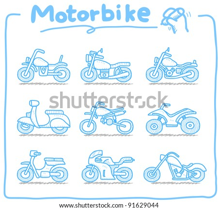 Pure series | Hand drawn Motorcycle,transporration,motorbike, icon set - stock vector