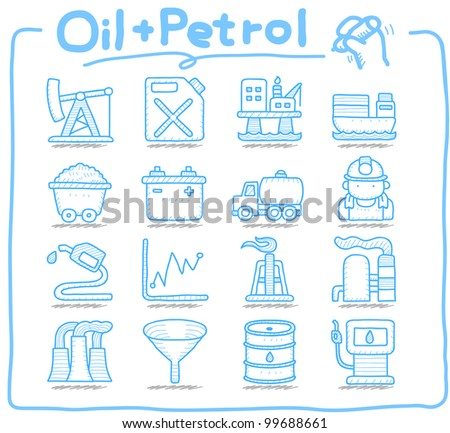 Pure Series | Hand drawn Oil, Petrol  icon set - stock vector