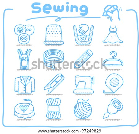 Pure series | Hand drawn Sewing icon set - stock vector