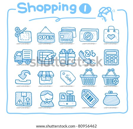 Pure series | Hand drawn shopping,business  icon set - stock vector