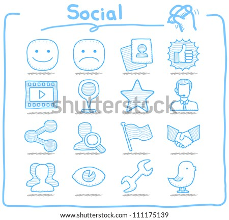 Pure Series | Hand drawn Social,Network icon set - stock vector