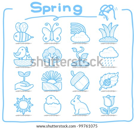 Pure Series | Hand drawn Spring,Season  icon set - stock vector