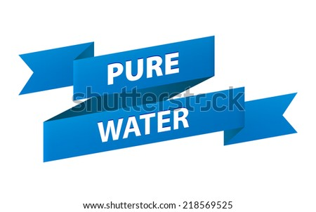 Pure water blue ribbon banner icon isolated on white background. Vector illustration